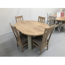 Bretagne Oak 1.1 Mtr Round Extending Dining Table plus 4 Cambridge Oak Dining Chairs