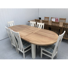 Bretagne Oak 1.76 Mtr Oval Extending Dining Table plus 6 Cambridge Oak Dining Chairs