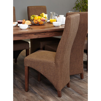 Walnut Full Back Upholstered Dining Chair - Hazelnut (Pack of Two)