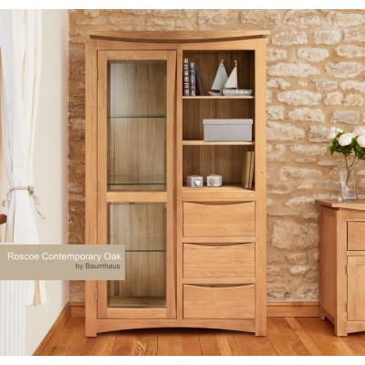 Roscoe Contemporary Oak Glazed Display Cabinet