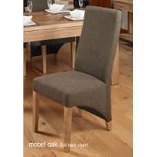 Oak Full Back Upholstered Dining Chair - Hazelnut (Pack of Two)