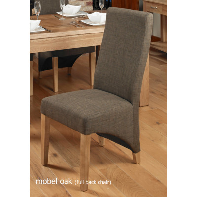 Oak Full Back Upholstered Dining Chair - Hazelnut (Pack of Two)