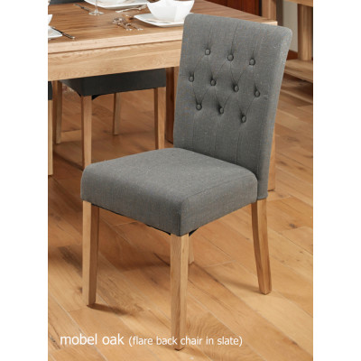 Oak Flare Back Upholstered Dining Chair - Slate (Pack of Two)