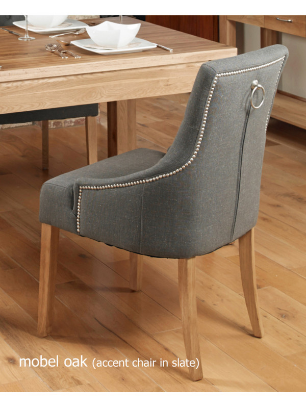 Oak Accent Upholstered Dining Chair - Slate (Pack Of Two)