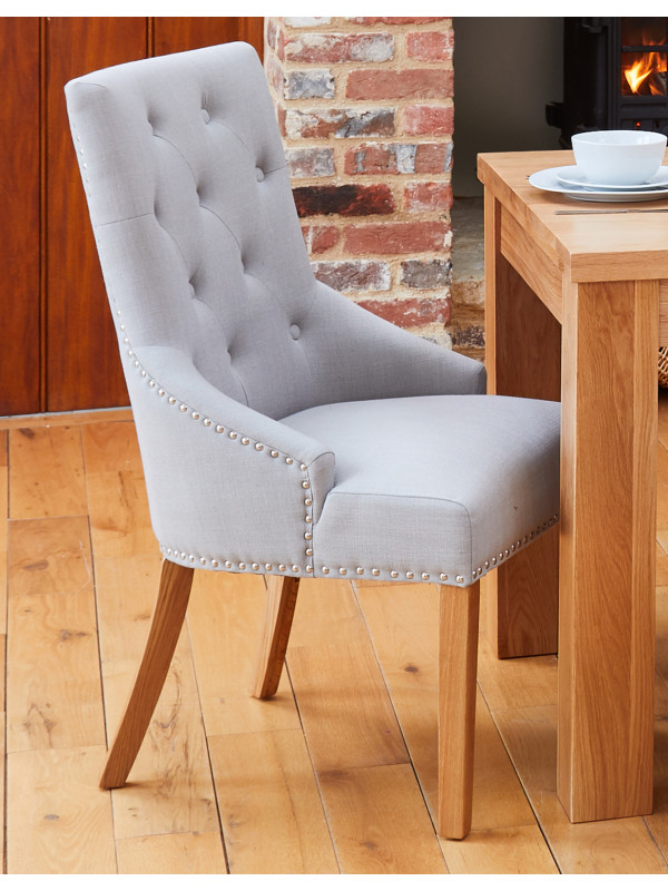 Oak Accent Narrow Back Upholstered Dining Chair - Grey (Pack Of Two)