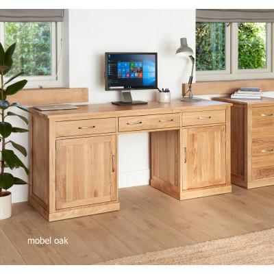 Mobel Oak Large Hidden Office Twin Pedestal Desk