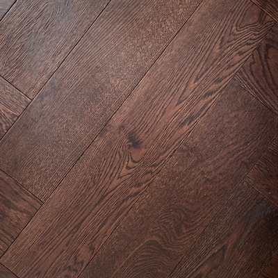 Solid Oak Engineered Herringbone Wood Flooring Brushed Coffee UV Lacquered