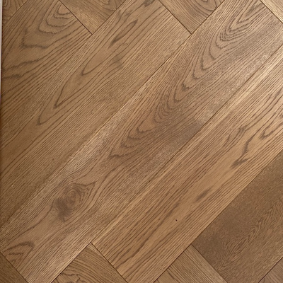 Solid Oak Engineered Herringbone Wood Flooring Grey UV Oiled